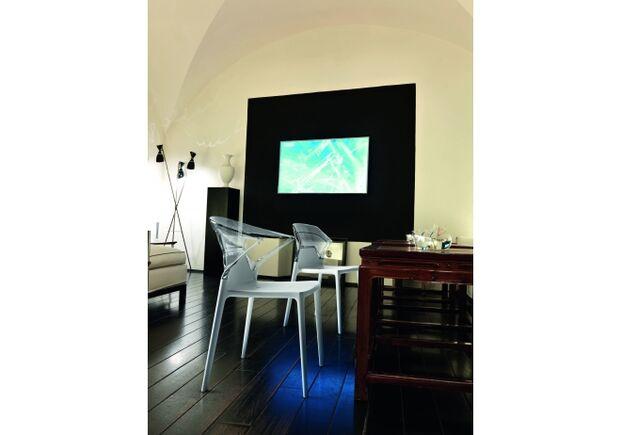 Кресло барное пластиковое Ego-K верх прозрачно-чистый/сиденье белое - Фото №2