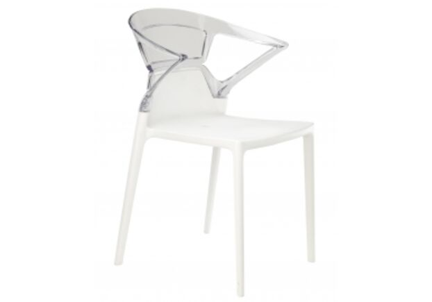 Кресло барное пластиковое Ego-K верх прозрачно-чистый/сиденье белое - Фото №1