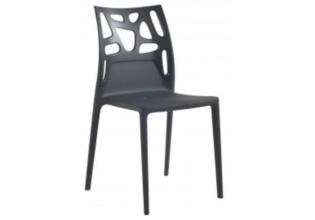 Кресло барное пластиковое Ego-Rock верх черный/сиденье антрацит - Фото №1