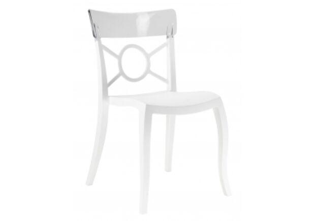 Кресло Papatya Opera-S сиденье белое/верх прозрачный - Фото №1