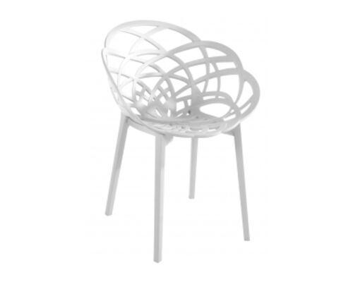 Кресло барное пластиковое Flora белое матовое - Фото №1