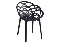 Кресло барное пластиковое Flora черное матовое