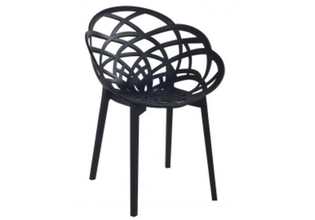 Кресло барное пластиковое Flora черное матовое - Фото №1