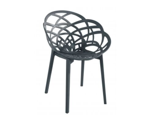 Кресло барное пластиковое Flora антрацит матовое - Фото №1