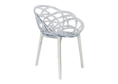 Кресло барное пластиковое Flora верх прозрачный/низ белый