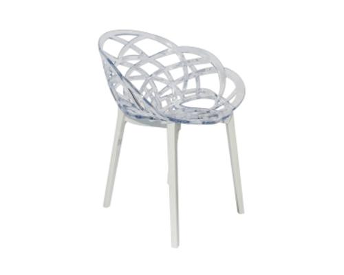 Кресло барное пластиковое Flora верх прозрачный/низ белый - Фото №1