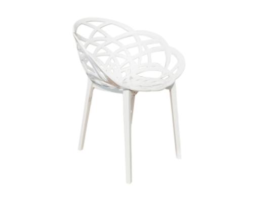 Кресло барное пластиковое Flora верх белый/низ белый - Фото №1