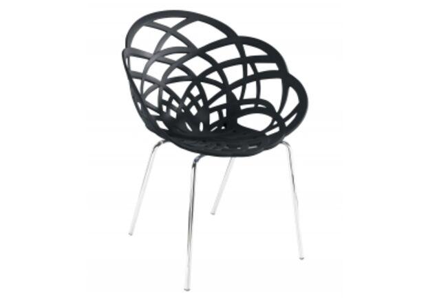 Кресло барное пластиковое Flora-ML сиденье матовое черное/ножки хром - Фото №1