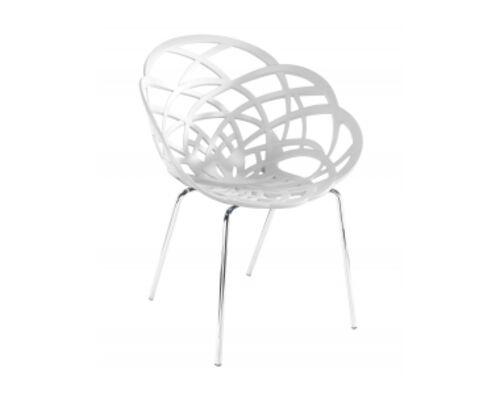 Кресло барное пластиковое Flora-ML сиденье матовое белое /ножки хром - Фото №1