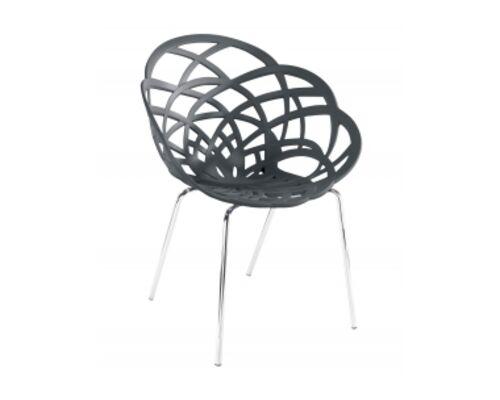 Кресло барное пластиковое Flora-ML сиденье матовое антрацит/ножки хром - Фото №1