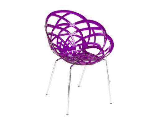Кресло барное пластиковое Flora-ML сиденье пурпурный прозрачный/ножки хром - Фото №1