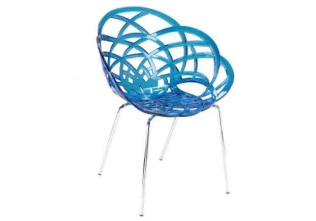 Кресло барное пластиковое Flora-ML сиденье синий прозрачный/ножки хром - Фото №1