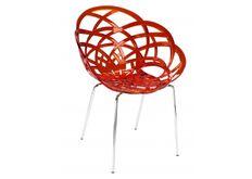 Кресло барное пластиковое Flora-ML сиденье красный прозрачный/ножки хром