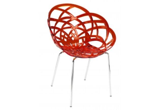 Кресло барное пластиковое Flora-ML сиденье красный прозрачный/ножки хром - Фото №1