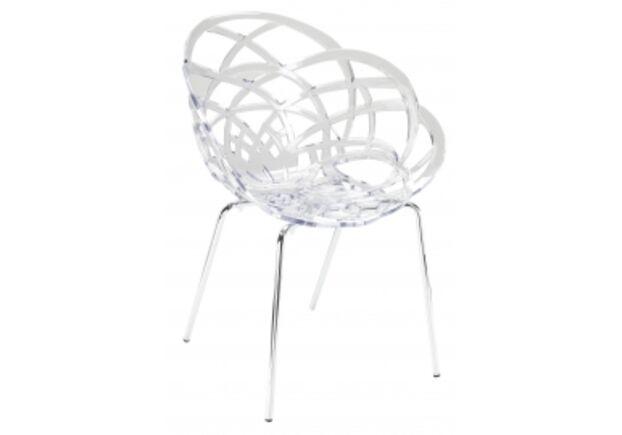 Кресло барное пластиковое Flora-ML сиденье прозрачное/ножки хром - Фото №1