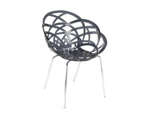 Кресло барное пластиковое Flora-ML сиденье прозрачное дымчатое/ножки хром - Фото №1