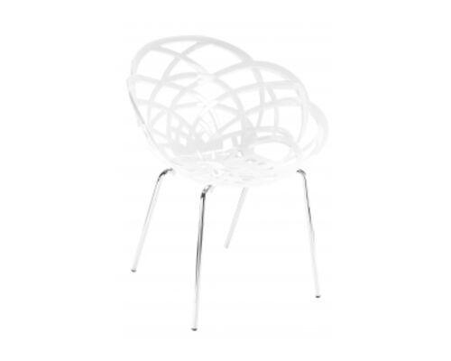 Кресло барное пластиковое Flora-ML сиденье белое/ножки хром - Фото №1