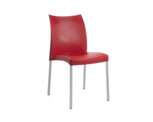 Кресло Papatya Marvel-S сиденье красное/ножки алюминиевые  - Фото №1
