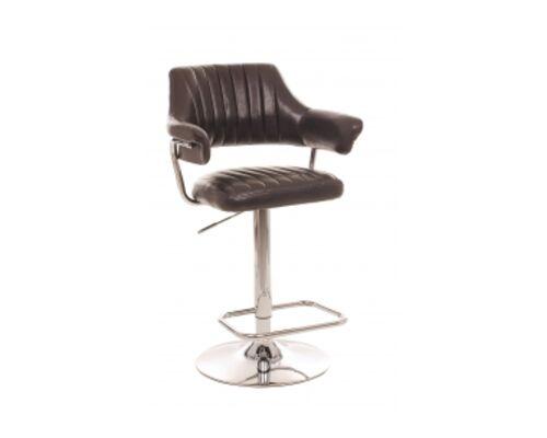 Барный стул B-90 кожзам блестящий коричневый /основание металл - Фото №1