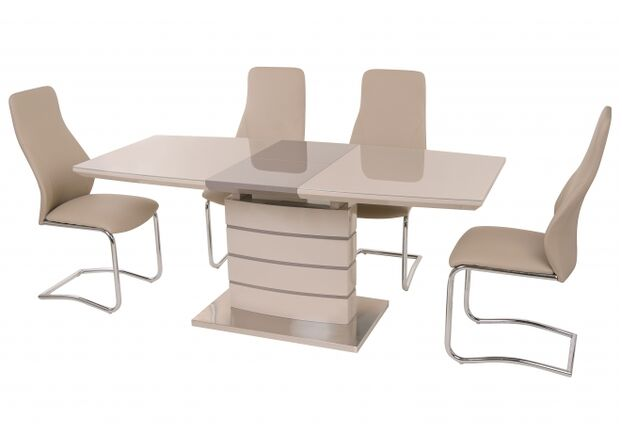 Стол обеденный ТМ-50-1 капучино-латте столешница МДФ+стекло / основание МДФ - Фото №2