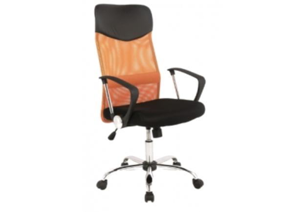Кресло офисное Q-025 Signal механизм Tilt ткань мембранная черная/сетка оранжевая - Фото №1