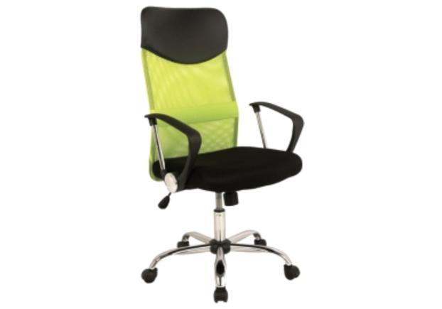 Кресло офисное Q-025 Signal механизм Tilt ткань мембранная черная/сетка зеленая - Фото №1