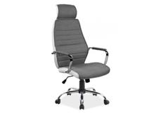 Кресло офисное Q-035 Signal механизм Tilt ткань серая/экокожа белая