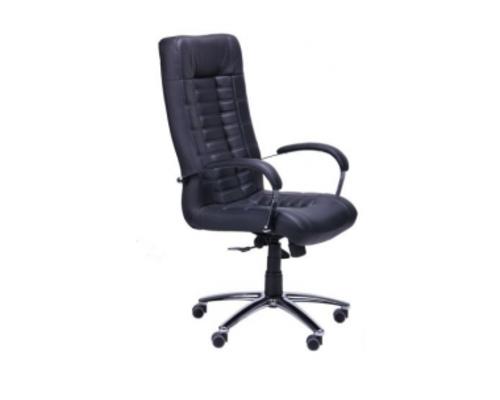 Кресло Парис хром/кожа Люкс комбинированная черная - Фото №1