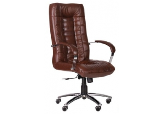 Кресло Парис хром/кожа Люкс комбинированная коричневая - Фото №1
