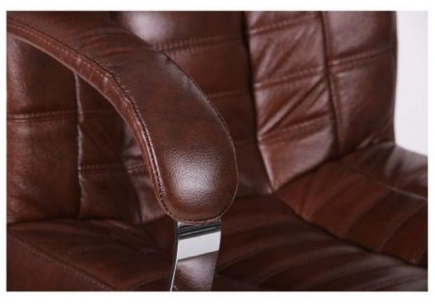 Кресло Парис хром/кожа Люкс комбинированная коричневая - Фото №2