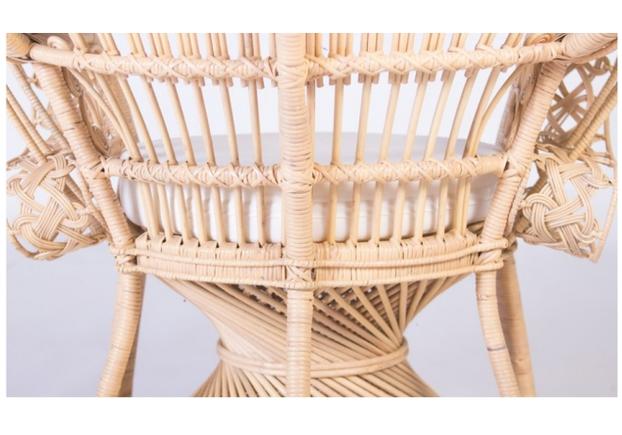 Кресло CRUZO Павлин розовое/натуральный ротанг  - Фото №2