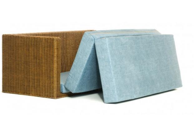 Диван-кровать CRUZO Уго натуральный ротанг с голубым матрасом  - Фото №2