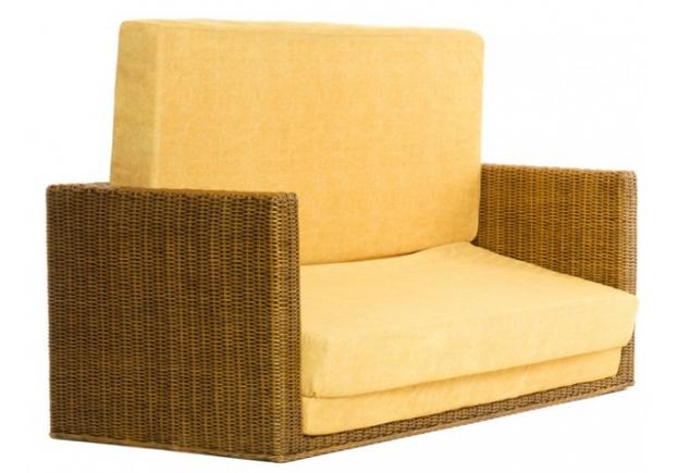 Диван-кровать CRUZO Уго натуральный ротанг с желтым матрасом  - Фото №2