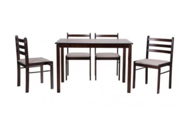 Комплект обеденный Брауни (стол+4 стула) темный шоколад/латте - Фото №1