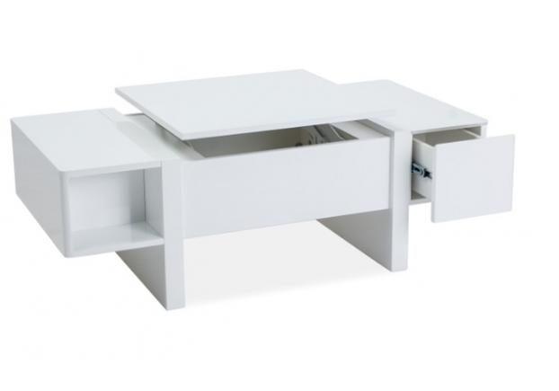 Cтол журнальный с 2 выдвижными ящиками Signal Mido 120*60*h40 см белый матовый - Фото №2