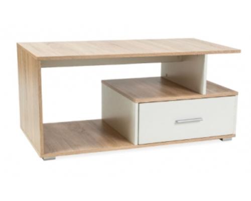 Журнальный столик с выдвижным ящиком Signal Sia 110*55*h50 см дуб сонома/белый - Фото №1