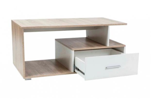 Журнальный столик с выдвижным ящиком Signal Sia 110*55*h50 см дуб сонома/белый - Фото №2