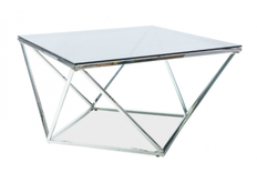 Фото Журнальный столик Signal Silver A 80*80*h45 см закаленное стекло / хромированный металл