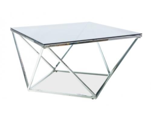 Журнальный столик Signal Silver A 80*80*h45 см закаленное стекло / хромированный металл  - Фото №1