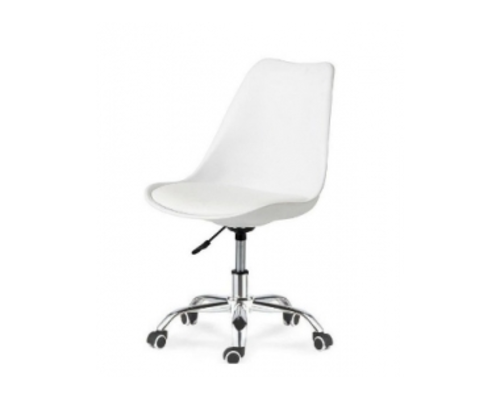 Кресло офисное Астер белое с белой подушкой  - Фото №1