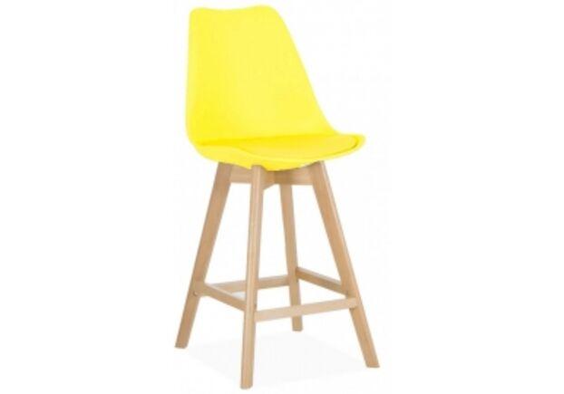 Барный стул Элиос сиденье желтый пластик с подушкой/ножки бук - Фото №1