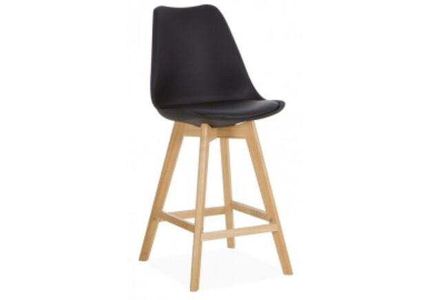 Барный стул Элиос сиденье черный пластик с подушкой/ножки бук - Фото №1