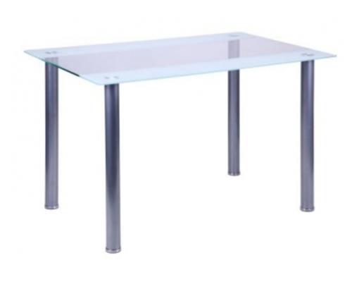 Стол Аттика 1200*800*750 каркас алюминий/стекло прозрачное с белой полосой  - Фото №1