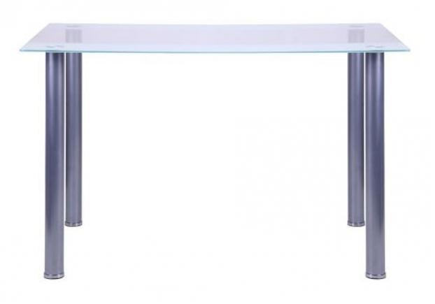 Стол Аттика 1200*800*750 каркас алюминий/стекло прозрачное с белой полосой  - Фото №2