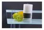 Стол Аттика 1200*800*750 каркас алюминий/стекло прозрачное с белой полосой  - Фото №5