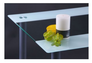 Стол Аттика 1200*800*750 каркас алюминий/стекло прозрачное с белой полосой  - Фото №4