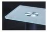 Стол Аттика 1200*800*750 каркас алюминий/стекло прозрачное с белой полосой  - Фото №3