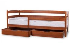 Фото Кровать Ева с ящиками и защитным бортиком 80x190 см белая