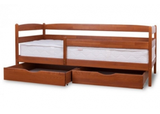 Фото Кровать Ева с ящиками и защитным бортиком 80x190 см бук натуральный