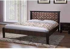 Фото Кровать с мягким изголовьем Рубин 160*200 см  темный орех